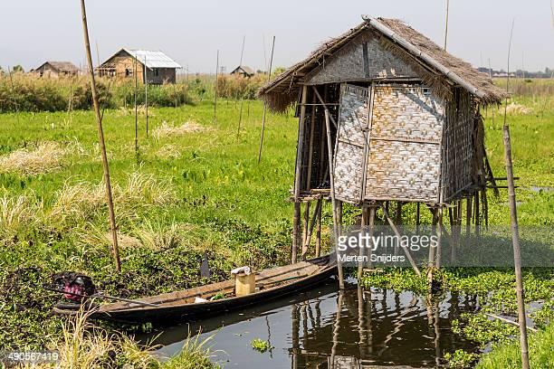 bamboo hut on poles along river - merten snijders photos et images de collection