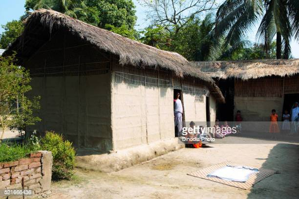 Bamboo huts, Assam, India