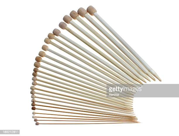 Bamboo knitting needles on white