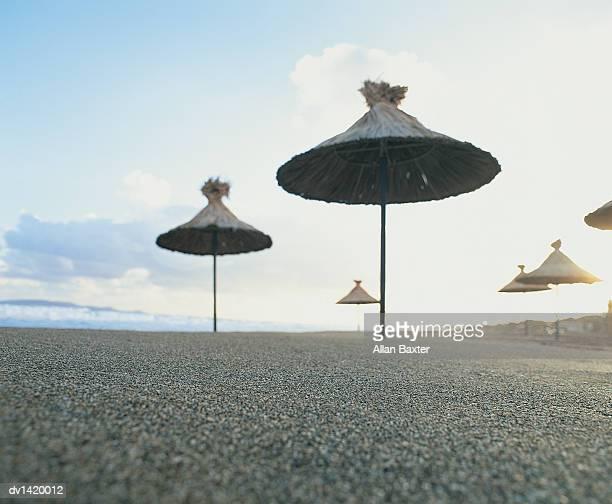 Bamboo Parasols on an Empty Beach, Crete