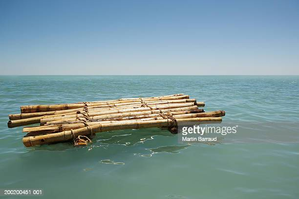 Bamboo raft floating in sea