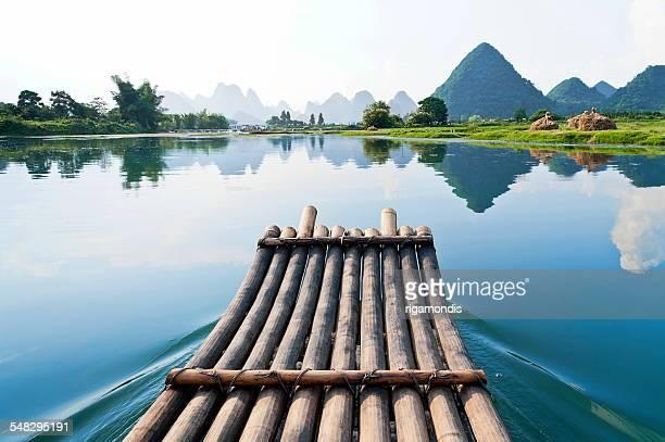 Bamboo raft on Li River, Guilin, Yangshou, China