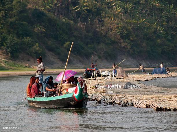 Bamboo rafts on Bangladesh rivers