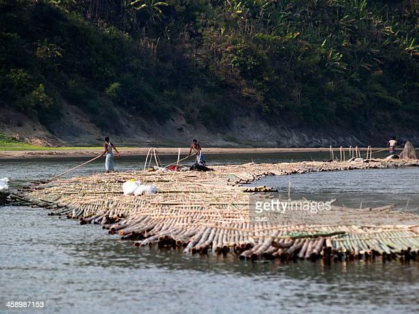 Bamboo rafts on the Sangu River in Bandarban