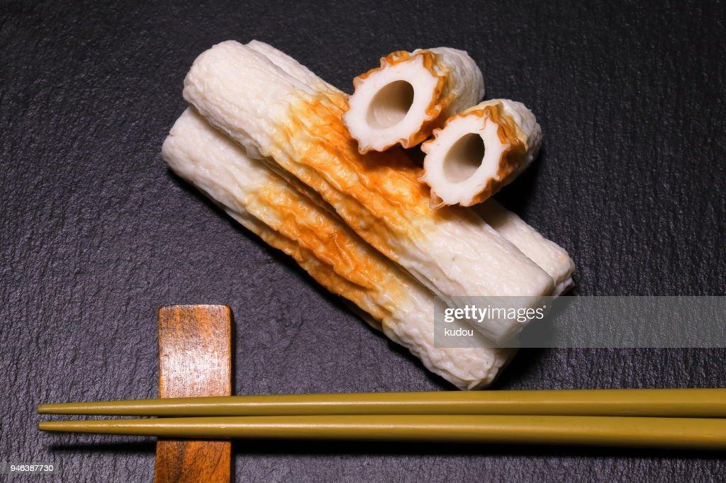bamboo. shaped fish paste cake : Stock Photo