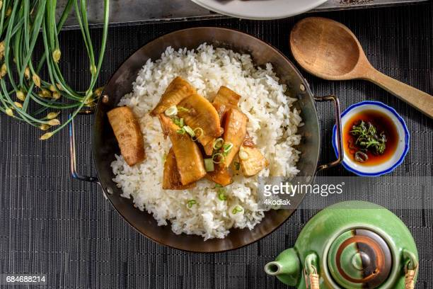 Bamboo Shoot Cooked in Soy Sauce over Rice