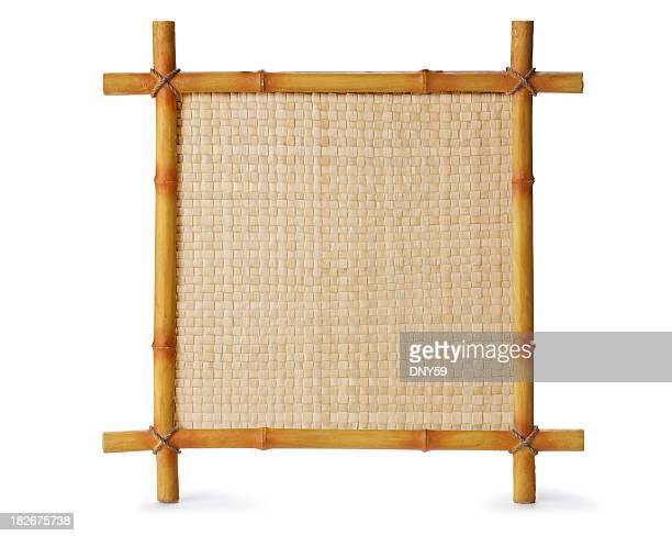 Bambus-Schild, isoliert auf weißem Hintergrund
