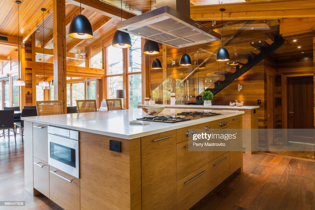 Bamboo Wood Kitchen Island With White