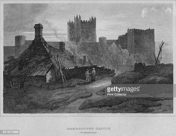 Bamborough Castle Northumberland' 1814 From The Border Antiquities of England and Scotland Vol II by Walter Scott Esq [Longman Co London 1814] Artist...