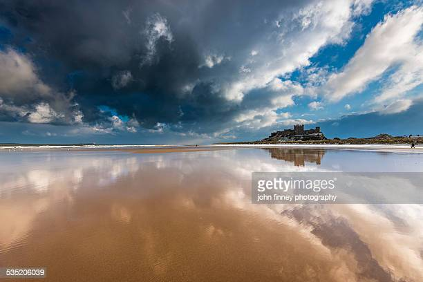 Bamburgh castle and beach reflections