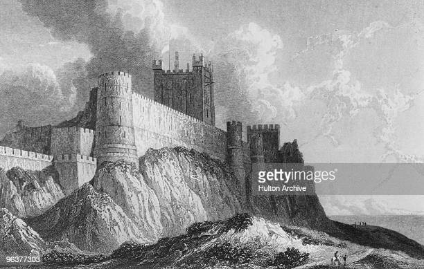 Bamburgh Castle in Northumberland circa 1830 Engraving by Edward Finden from a drawing by William Westall