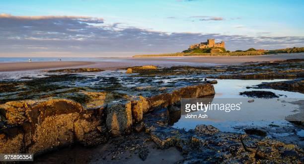 bamburgh castle, northumberland, england, uk - northumberland stock photos and pictures