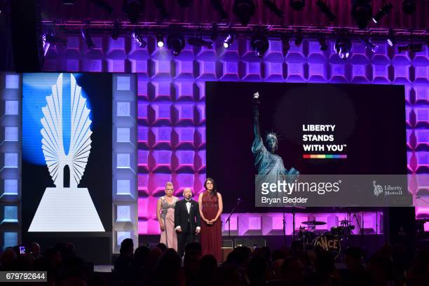 Bamby Salcedo Kylar W Broadus Sydney Freeland speak on stage at the 28th Annual GLAAD Media Awards at The Hilton Midtown on May 6 2017 in New York...