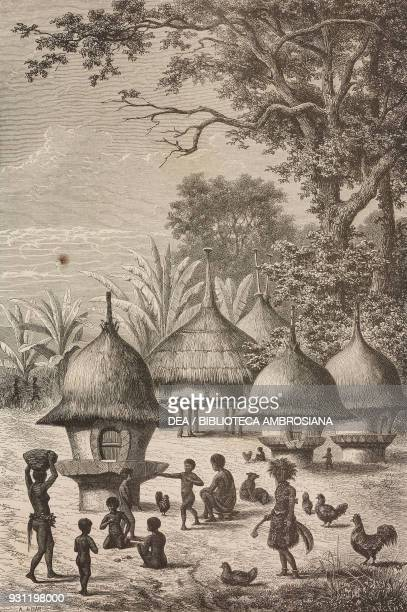 Bamogi or huts for young people drawing by Alexandre De Bar from Heart of Africa Three years' travels and adventures in the unexplored regions of...