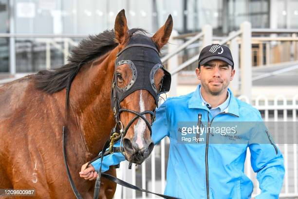 Bam's On Fire after winning the Elvis Thurgood 40th Anniversary Cup at Caulfield Racecourse on April 11 2020 in Caulfield Australia