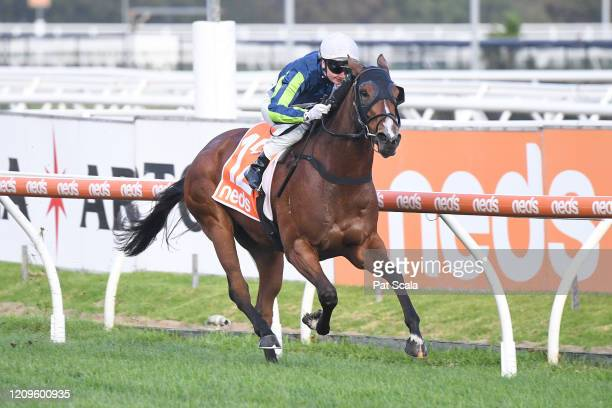 Bam's On Fire ridden by Jamie Kah wins the Elvis Thurgood 40th Anniversary Cup at Caulfield Racecourse on April 11 2020 in Caulfield Australia