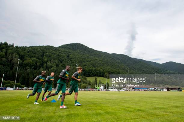 BaMuaka Simakala Fabian Johnson Denis Zakaria and Jannik Vestergaard run during a training session at the Training Camp of Borussia Moenchengladbach...