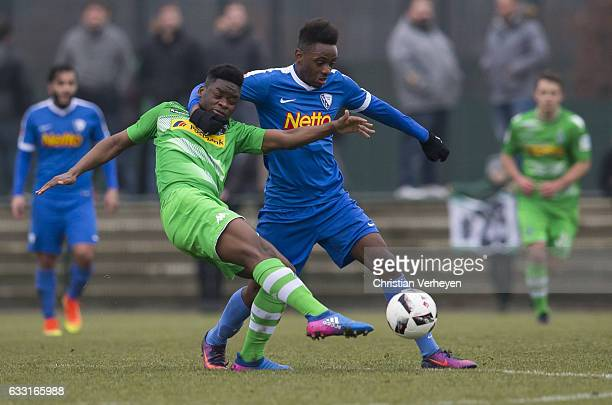 BaMuaka Simakala of Borussia Moenchengladbach battles for the ball during the Friendly Match between Borussia Moenchengladbach and VfL Bochum at...