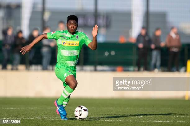 BaMuaka Simakala of Borussia Moenchengladbach controls the ball during the Friendly Match between Borussia Moenchengladbach and FC Sankt Pauli at...
