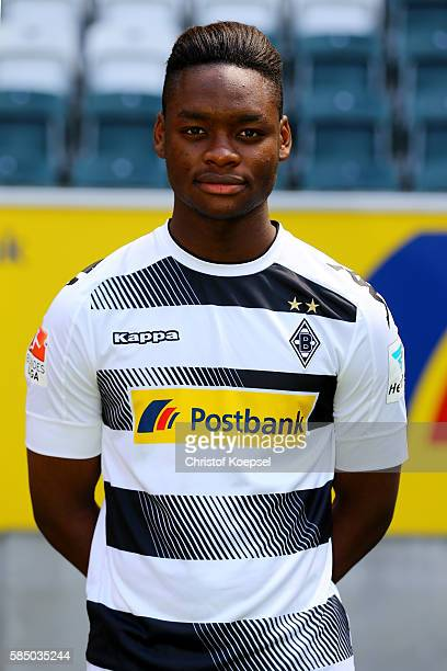 BaMuaka Simakala of Moenchengladbach poses during the team presentation of Borussia Moenchengladbach at BorussiaPark on August 1 2016 in...