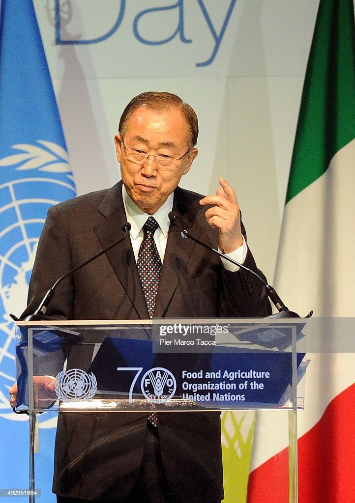 Ban Ki -moon, Secretary General of the United Nations makes a speech during the World Food Day - Expo 2015 on October 16, 2015 in Milan, Italy. The focus of the discussion during the World Food Day 2015, held today in Milan, was how to combat food waste in the world. Queen of Spain Letizia , ambassador of the FAO (United Nations Organization for Food and Agriculture), was among the participants.