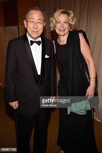 Ban KiMoon and Deborah Birx attend the 15th Annual Elton John AIDS Foundation An Enduring Vision Benefit at Cipriani Wall Street on November 2 2016...