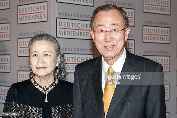 Ban KiMoon and his wife Yoo SoonTaek attend the German Media Award 2016 on March 07 2016 in BadenBaden Germany