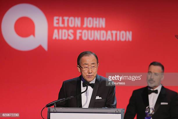 Ban Ki-Moon and Sir David Furnish take the stage at the 15th Annual Elton John AIDS Foundation An Enduring Vision Benefit at Cipriani Wall Street on...