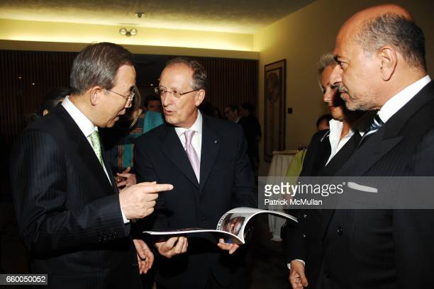Ban Ki-moon, Antonio Maria Costa, Gigi Gabr and Shafik Gabr attend WELCOME TO GULU EXHIBITION AND BENEFIT ART SALE ANTI-HUMAN TRAFFICKING INNITIATIVE...