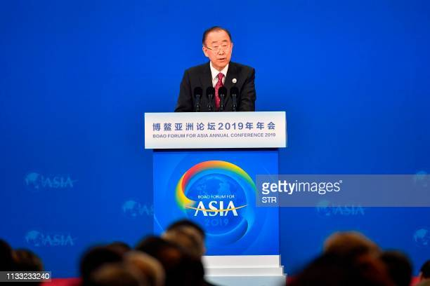 Ban Ki-moon, Former UN Secretary General and Chairman of the Boao Forum for Asia , delivers a speech during the opening of the BFA Annual Conference...