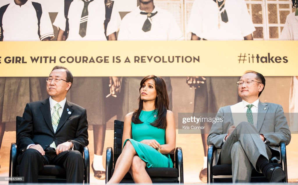 Ban Ki-moon, Freida Pinto and Jim Young Kim attend the Girl Rising: A Rally for Girls and Women screening at The World Bank on April 18, 2013 in Washington, DC.