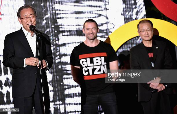 Ban KiMoon Hugh Jackman and Jim Yong Kim speak onstage at the 2014 Global Citizen Festival to end extreme poverty by 2030 in Central Park on...