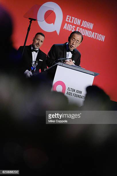 Ban Ki-Moon on stage at the 15th Annual Elton John AIDS Foundation An Enduring Vision Benefit at Cipriani Wall Street on November 2, 2016 in New York...