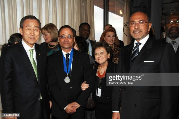 Ban Kimoon Ross Bleckner guest and Shafik Gabr attend WELCOME TO GULU EXHIBITION AND BENEFIT ART SALE ANTIHUMAN TRAFFICKING INNITIATIVE at The United...