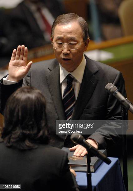 Ban KiMoon Secretary General designate of the United Nations accepts the Oath of Office of the United Nations Secretary General on December 14 2006...