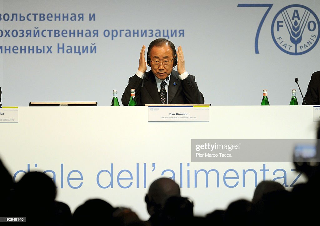 Ban Ki-moon, Secretary General of the United Nations attends the World Food Day - Expo 2015 on October 16, 2015 in Milan, Italy. The focus of the discussion during the World Food Day 2015, held today in Milan, was how to combat food waste in the world. Queen of Spain Letizia , ambassador of the FAO (United Nations Organization for Food and Agriculture), was among the participants.