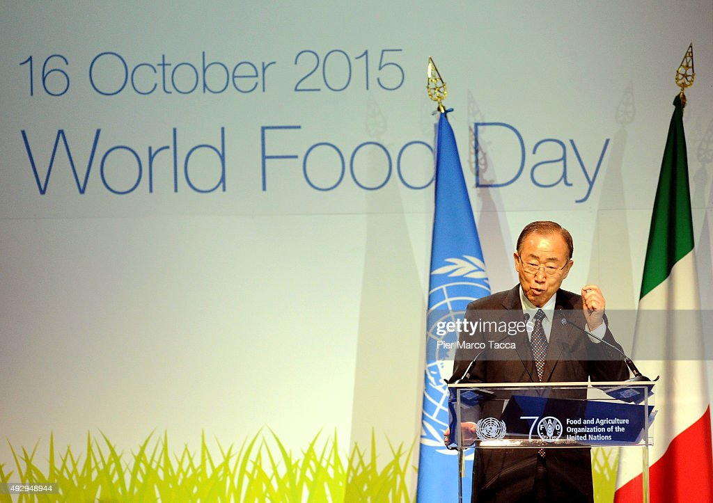 Ban Ki-moon, Secretary General of the United Nations makes a speech during the World Food Day - Expo 2015 on October 16, 2015 in Milan, Italy. The focus of the discussion during the World Food Day 2015, held today in Milan, was how to combat food waste in the world. Queen of Spain Letizia , ambassador of the FAO (United Nations Organization for Food and Agriculture), was among the participants.