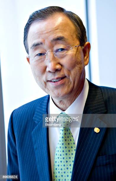 Ban KiMoon secretarygeneral of the United Nations poses for a portrait in New York US on Tuesday June 9 2009 Ban said the world needs a sense of...