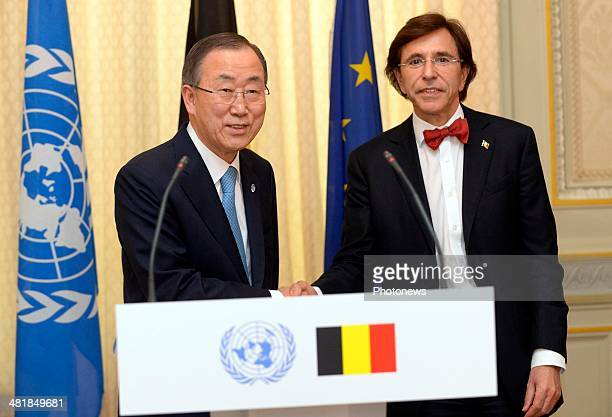 Ban Ki-Moon, Secretary-General of United Nations meets with Belgian Prime Minister Elio Di Rupo on April 1, 2014 in Brussels, Belgium. The...