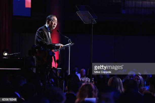 Ban Ki-Moon speaks onstage at the 15th Annual Elton John AIDS Foundation An Enduring Vision Benefit at Cipriani Wall Street on November 2, 2016 in...