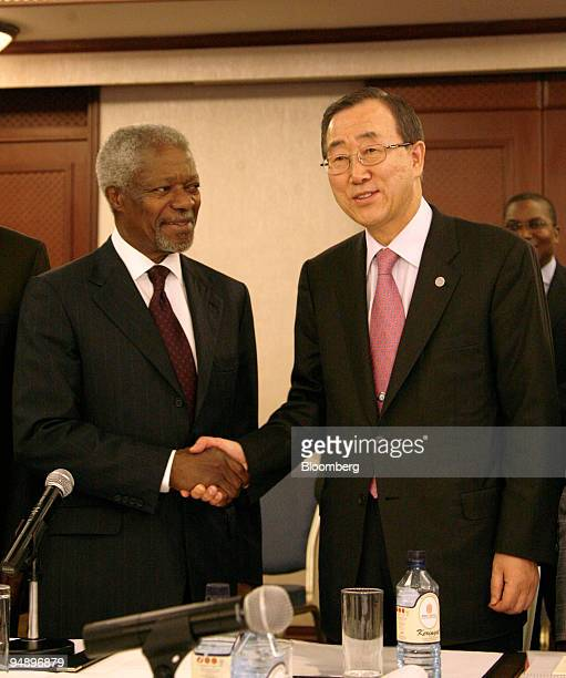 Ban KiMoon the United Nations SecretaryGeneral right shakes hands with Kofi Annan the former United Nations chief in Nairobi Kenya on Friday Feb 1...