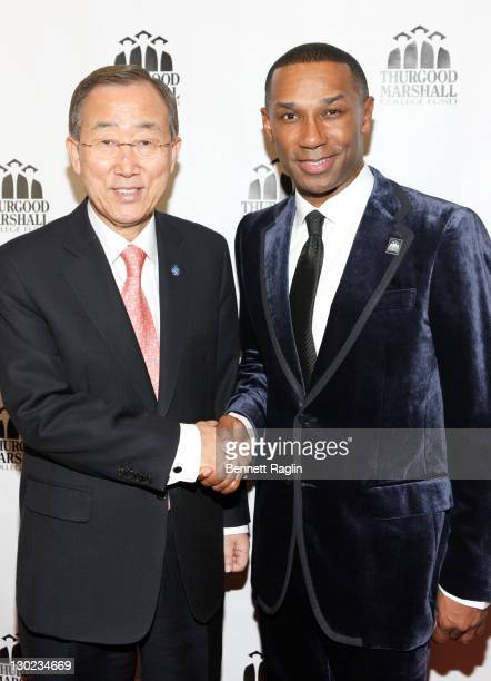 Ban KiMoon UN SecretaryGeneral and Johnny C Taylor Jr President/CEO Thurgood Marshall College Fund attend the Thurgood Marshall College Fund's 24th...