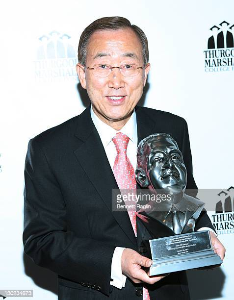 Ban KiMoon Un SecretaryGeneral receives the Humanitarian of the Year Award during the Thurgood Marshall College Fund's 24th Anniversary Dinner at the...