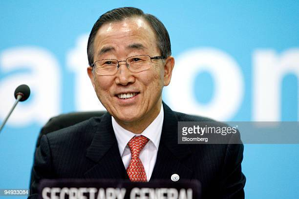 Ban Kimoon UN secretarygeneral speaks in the main plenary hall where international discussions take place at the United Nations Climate Change...