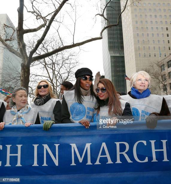 Ban SoonTaek Kim Cattrall Naomi Campbell and Muna Rihani Al Nasser march at the 'MARCH IN MARCH' to end violence against women on March 7 2014 in New...