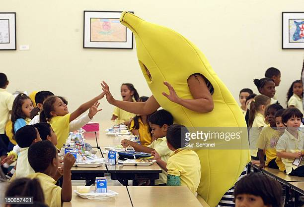 Banana ambassador Ericka Floyd extols the virtues of fruit for elementary school kids at Hallandale Elementary School in Hallandale Florida