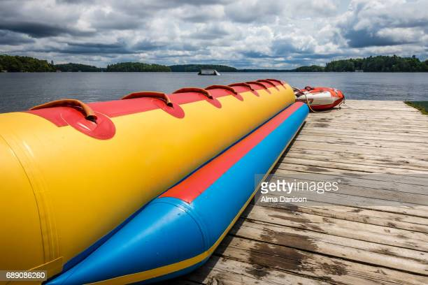 banana boat on muskoka lakes - alma danison stock photos and pictures