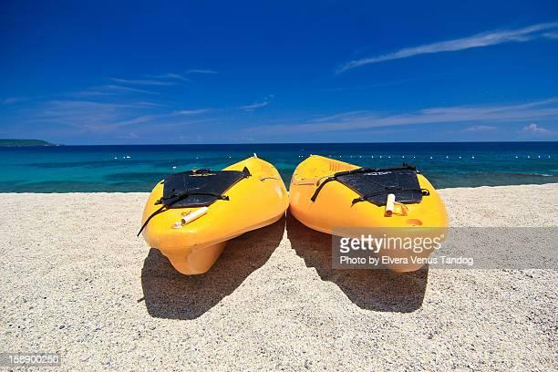 banana boat parking at the beach