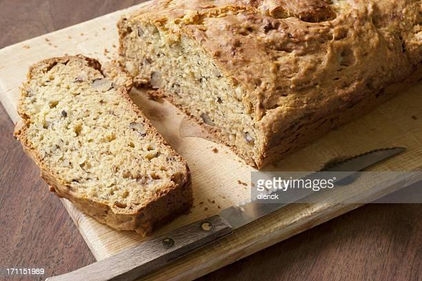 banana bread on cutting board