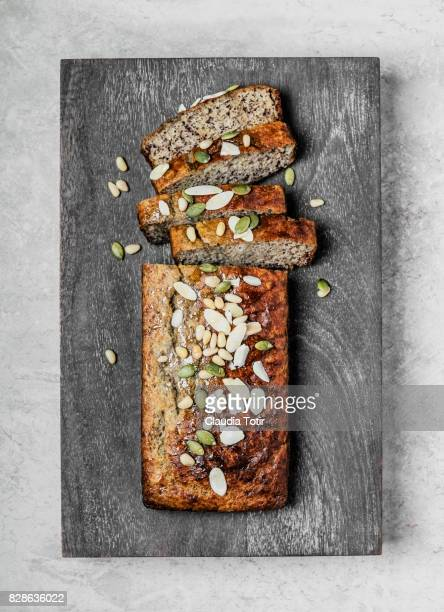 banana bread - loaf of bread stock pictures, royalty-free photos & images